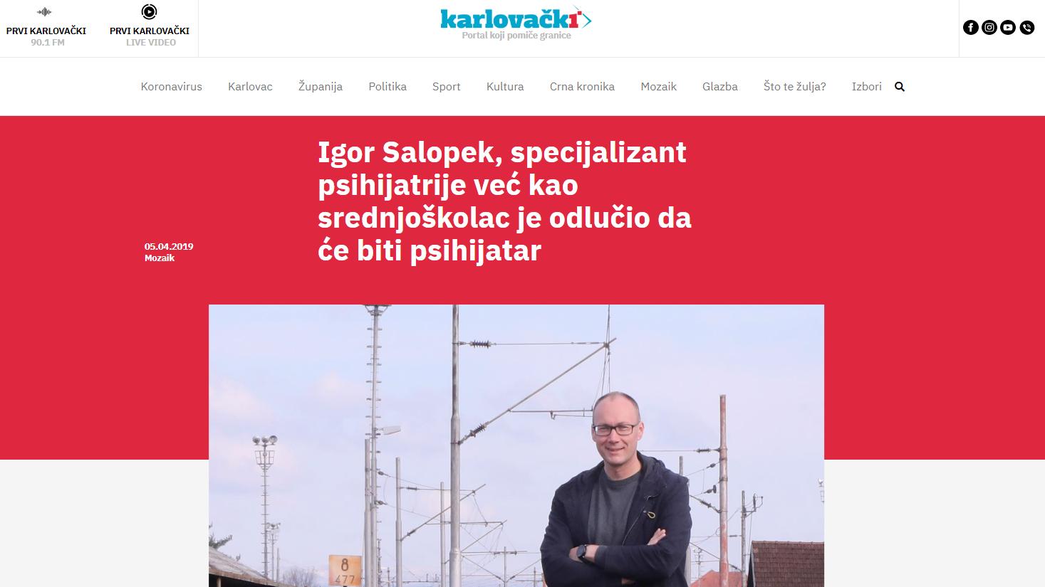 Igor Salopek, specijalizant psihijatrije već kao srednjoškolac je odlučio da će biti psihijatar